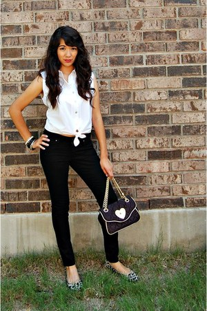black Betsey Johnson bag - black Eddie Bauer pants - black Sam and Libby flats