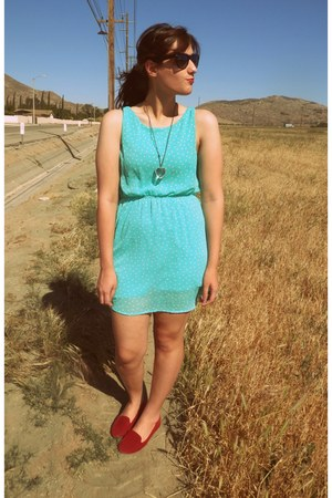 red cotton on loafers - aquamarine Forever 21 dress - black sunglasses