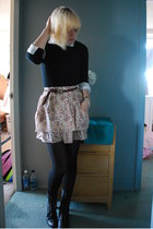 black combat Dolce Vita boots - black unknown sweater - white unkown blouse - or