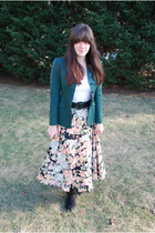 green thrifted blazer - yellow thrifted skirt - black accessories