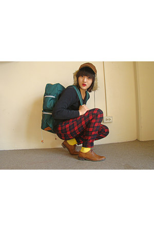 ALand pants - oxfords shoes - hat - LIFUL bag - socks - moms sweater