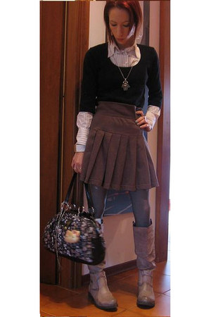 black Kookai sweater - white gff shirt - heather gray Moschino skirt - silver AS