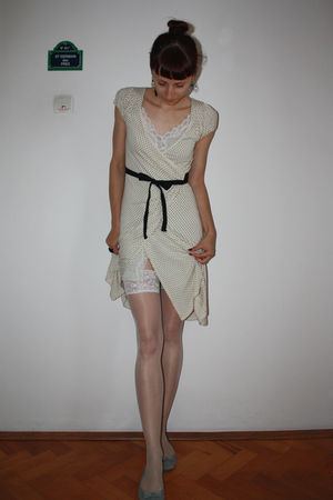 beige thrifted dress - white random stockings - white vintage intimate - gray St