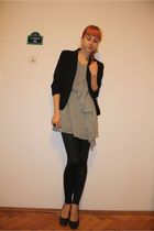 black Pimkie blazer - gray H&M dress - black Stradivarius leggings - gray DGM sh