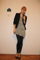 black Pimkie blazer - gray H&M dress - black Stradivarius leggings - gray DGM sh