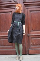 olive green H&M shoes - black vintage dress - green random tights - black H&M ca