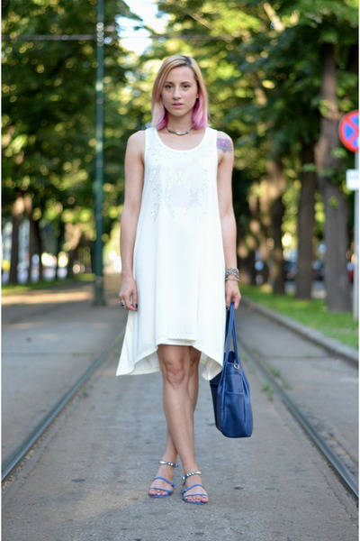 blue studded Zara sandals - off white studded cross nowIStyle dress