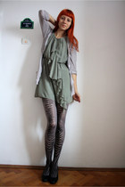 heather gray Promod cardigan - green H&M dress - heather gray Gatta tights - gra