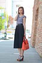 pleated thrfited skirt - stripes thrifted shirt - Zara bag