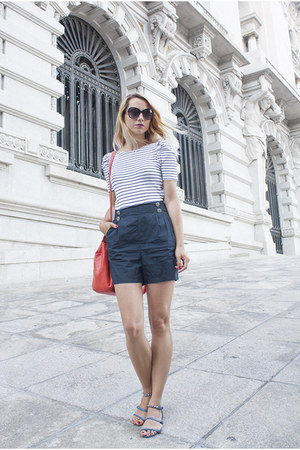 navy sailor Amisu romper - red Zara bag - black H&M sunglasses