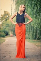 orange Mango skirt - black fringe H&M top