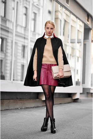 brick red faux leather H&M skirt - black H&M boots - nude 33F sweater