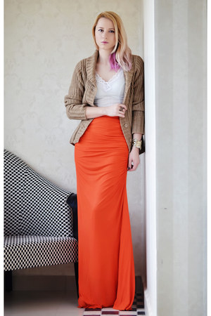 carrot orange Mango skirt - ivory slip vintage intimate