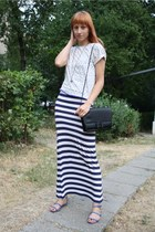 Amisu dress - Zara shirt - vintage bag - Zara sandals