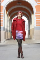 blue rainbow cloud Chicwish skirt - brick red H&M coat