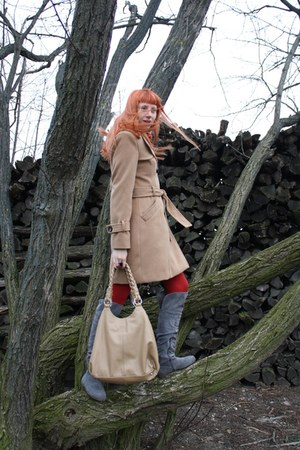 gray random boots - camel Topshop coat - red random tights - beige Benvenuti bag
