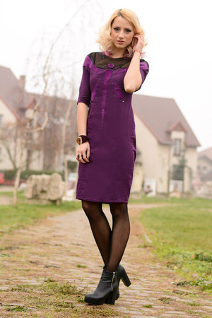 black H&M boots - magenta BAD style dress