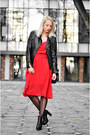 Black-h-m-boots-red-vintage-dress-black-leather-pull-bear-jacket
