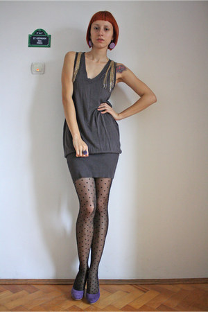 purple Filty shoes - heather gray Mango dress - black charme tights