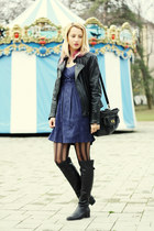 black Filty boots - navy H&M dress - black leather pull&bear jacket
