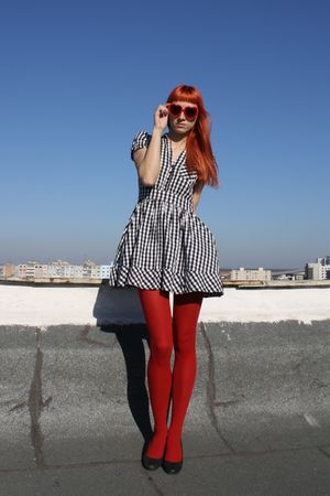 black H&M dress - red random tights - DGM shoes - red festival sunglasses