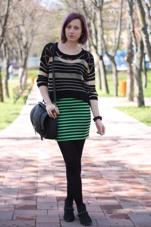 green neon nowIStyle skirt - black random boots - black nowIStyle sweater