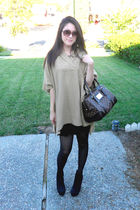 brown H&M sweater - black H&M tights - black Forever 21 shoes - brown Louis Vuit