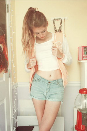 light pink varsity kohls jacket - light blue Forever 21 shorts