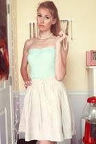 off white Old Navy skirt - aquamarine polka dot tube Forever 21 top