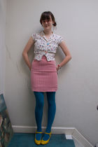 white used to be my moms top - red Kenzo secondhand market skirt - gold Plasticl