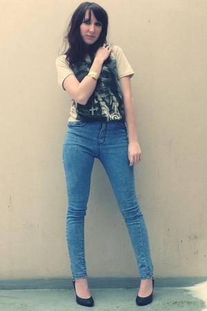 beige storets t-shirt - blue storets jeans - black H&M jacket - black H&M shoes