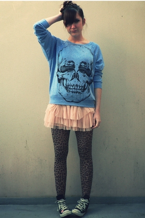blue Illustrated People sweater - pink H&M skirt - brown legs avenue tights - bl