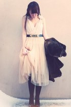 peach H&M dress - peach Ezzentric topz vintage skirt - dark brown Newlook coat -