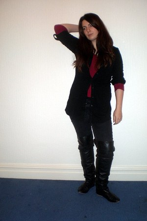 maroon Gap sweater - black Dorothy Perkins cardigan - black Primark jeans - blac