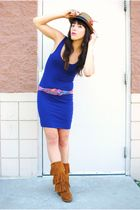 Urban Outfitters dress - Minnetonka boots - Forever 21 hat - thrifted belt