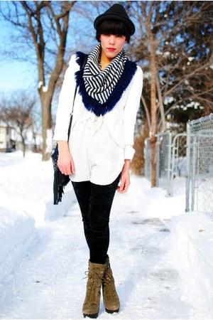 diy scarf - Steve Madden boots - Forever 21 hat - Forever 21 leggings