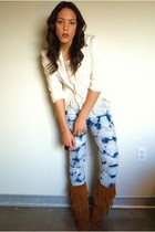 f21 blazer - f21 blouse - f21 jeans - Minnetonka shoes