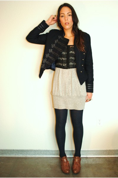 Forever 21 coat - Forever 21 shoes - Urban Outfitters vest - Forever 21 dress -