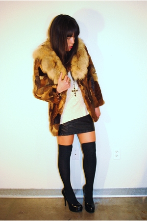 vintage jacket - Forever 21 skirt - Forever 21 shoes