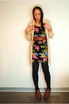 Ebay cardigan - Forever 21 dress - thrifted belt - Forever 21 leggings - Forever