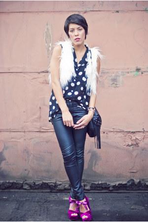 Topshop heels - H&M pants - Mink Pink blouse - Forever 21 vest