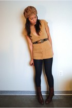 thrifted cardigan - thrifted belt - Miss Sixty boots - Forever 21 leggings - vin