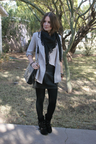 silver Urban Outfitters jacket - black Forever 21 boots - black Forever 21 skirt