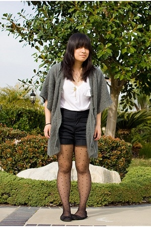 black flat Old Navy shoes - gray fuzzy Zara sweater - white v-neck Zara shirt