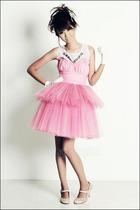 white Glitterati top - pink tube Glitterati top