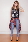 Black-forever-21-top-blue-topshop-jeans-brick-red-massimo-dutti-shirt