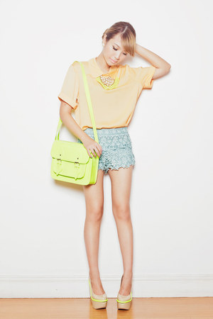 lime green neon satchel Dazzled Bags bag - teal crochet Chicwish shorts