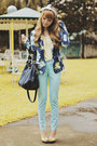 Blue-floral-print-terranova-jacket-navy-oversized-fino-bag