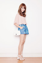 white EMODA bag - sky blue EMODA shorts - white Choies heels
