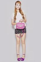 magenta San Sue bag - black pinkaholic shorts - ivory pinkaholic top